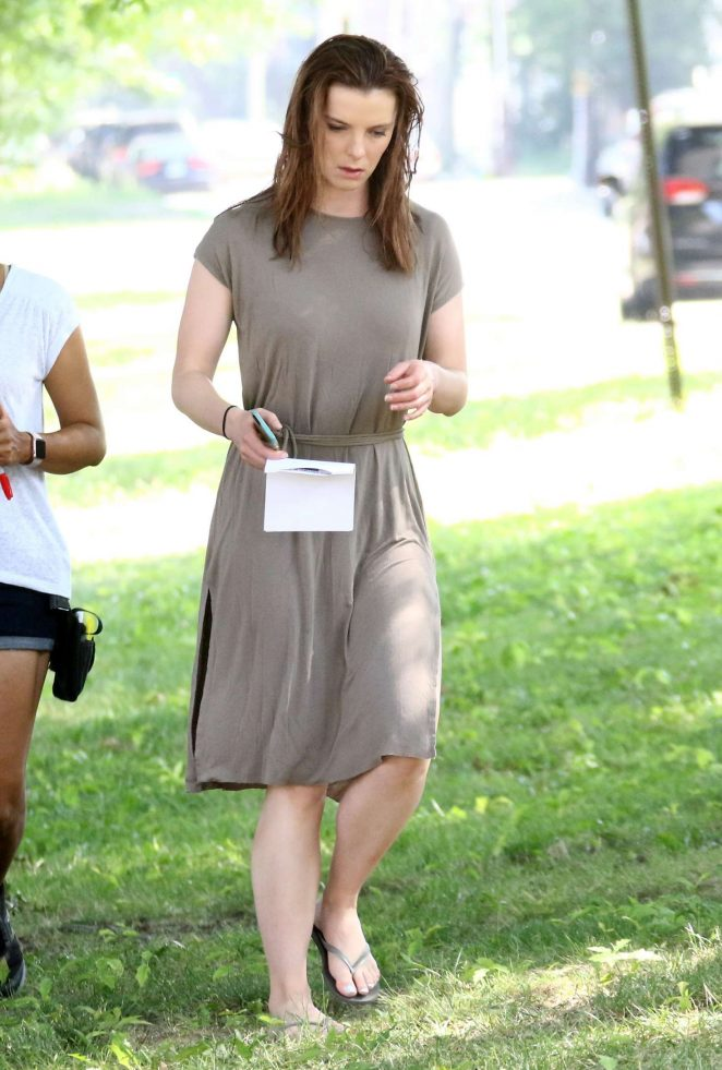 Betty Gilpin on the set of 'Isn't It Romantic' in New York City