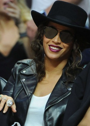 Beyonce at Golden State Warriors vs. Los Angeles Clippers in Los Angeles