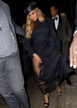 Beyonce in Black Dress at Catch in NYC