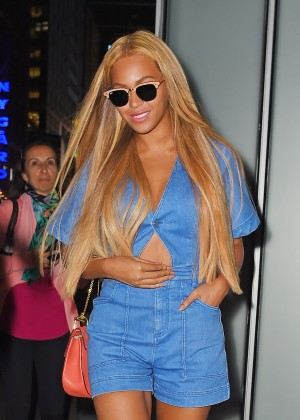 Beyonce in Blue Jumpsuit out in NYC