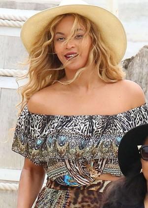 Beyonce in Long Dress on Ile Sainte-Marguerite