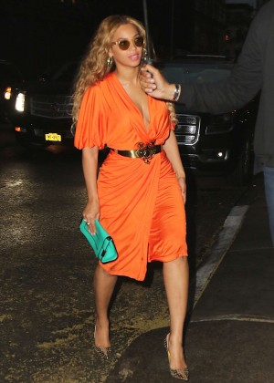 Beyonce in Orange Dress Out and about in NYC