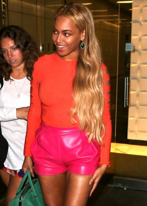 Beyonce in Pink Shorts Out in NYC