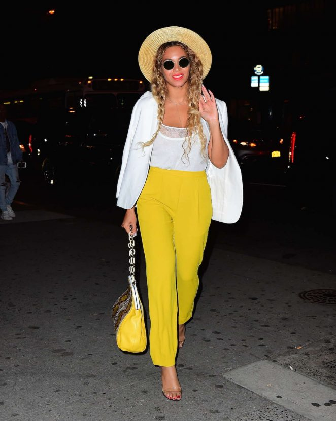 Beyonce in Yellow Pants out in NYC