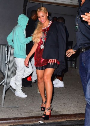 Beyonce in Red Mini Dress -05