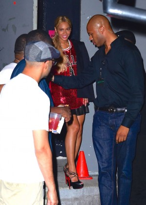 Beyonce in Red Mini Dress -06
