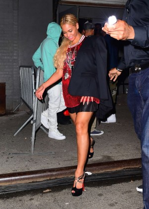 Beyonce in Red Mini Dress -09