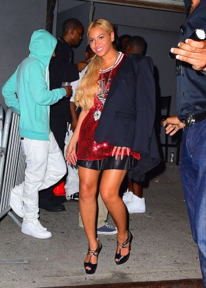 Beyonce in Red Mini Dress -11