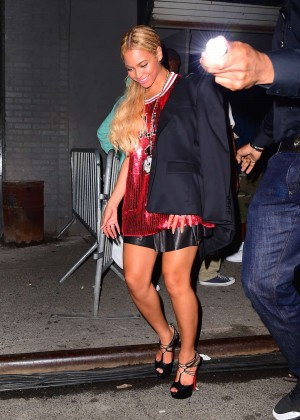 Beyonce in Red Mini Dress -13