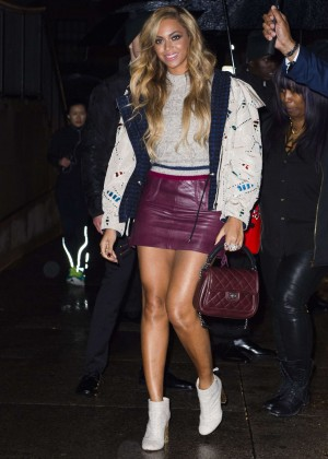 Beyonce in Leather Mini Skirt Out in NYC