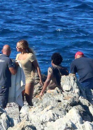 d2c2491f9c4 Beyonce – Wearing a tan romper in Sardinia – GotCeleb
