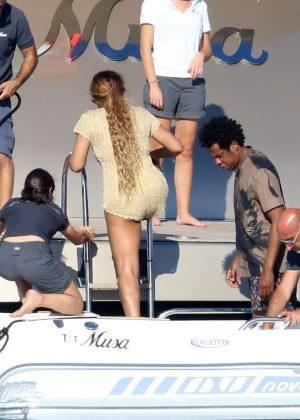 c4018ab3cdf Beyonce  Wearing a tan romper in Sardinia -15 - Full Size