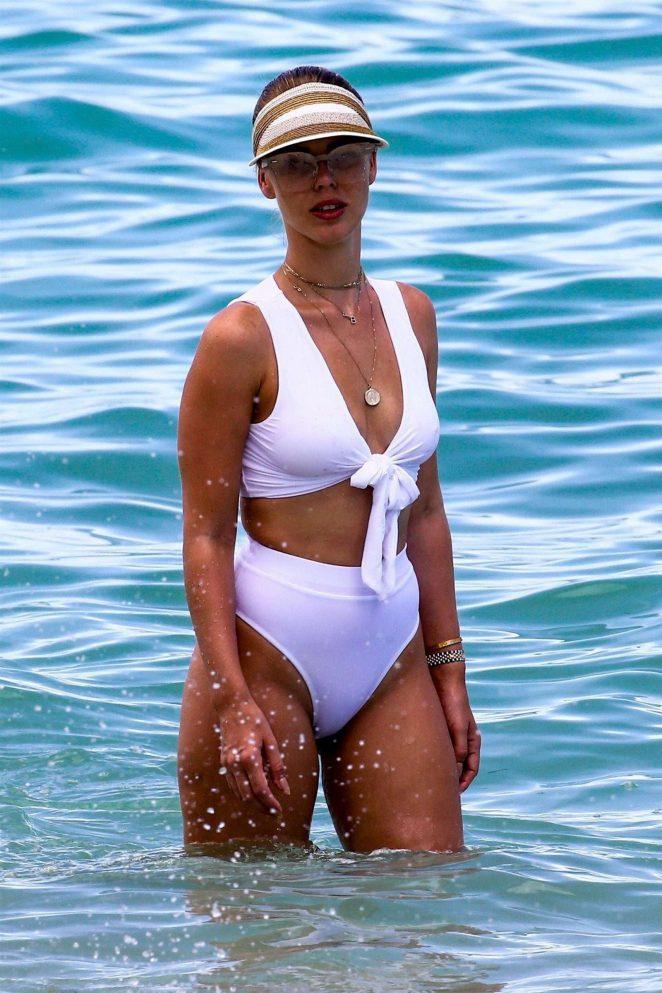Bianca Elouise in White Bikini in Miami