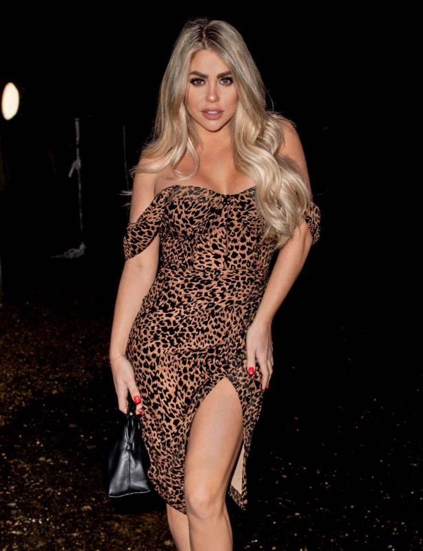Bianca Gascoigne - In a leopard print dress leaving a TV studio in North London