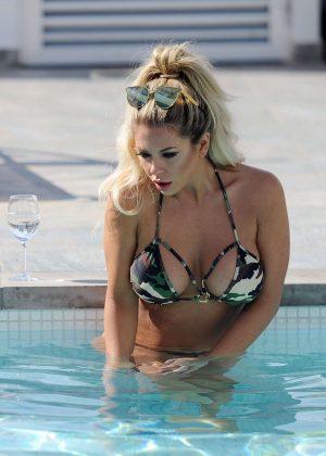 Bianca Gascoigne in Bikini at a hotel pool in in Ibiza