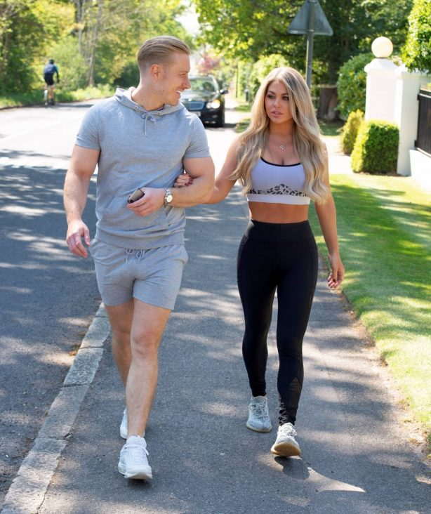 Bianca Gascoigne in Crop Top and Kris Boyson - Out in Gravesend