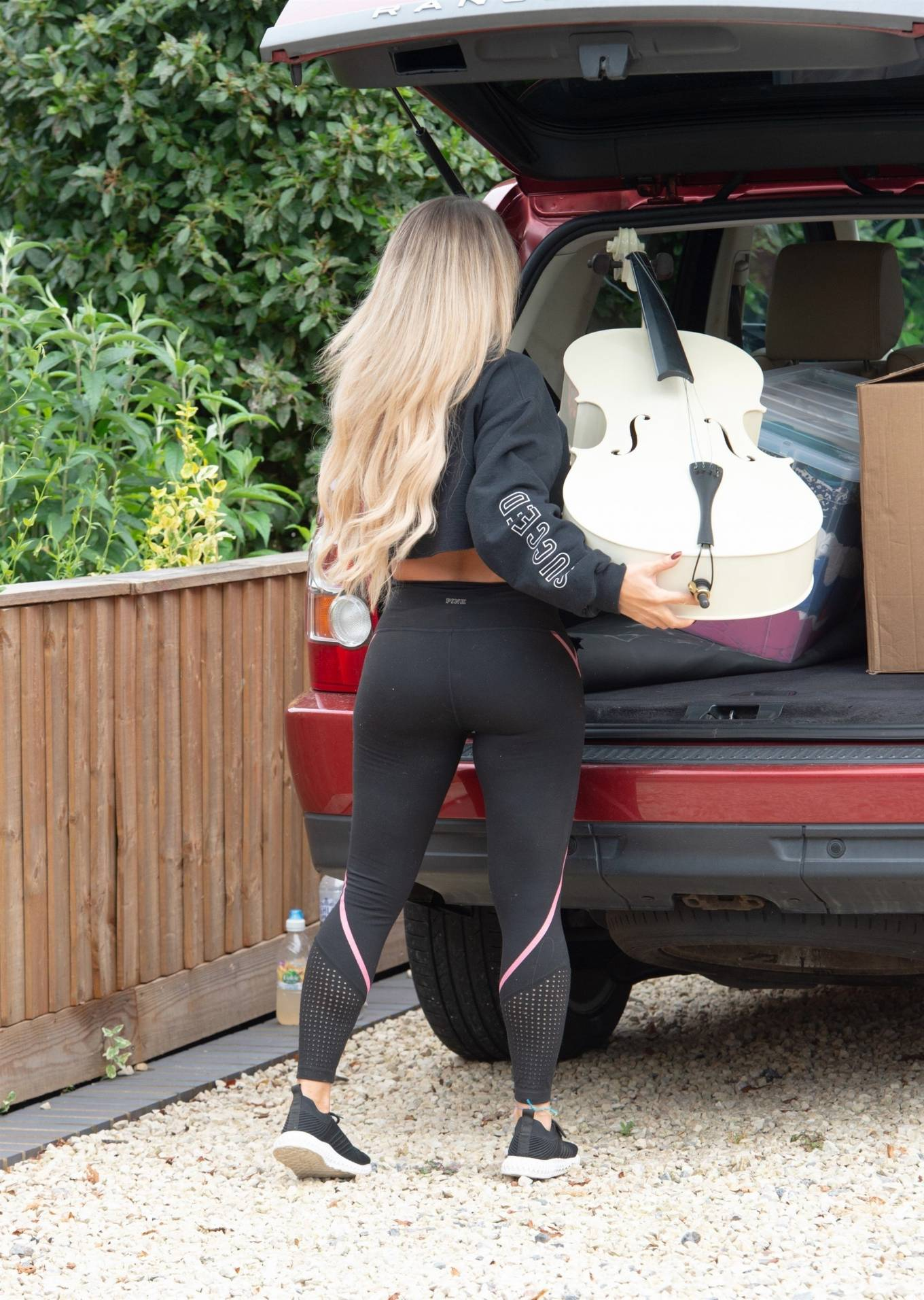 Bianca Gascoigne in Tights on her home in North London