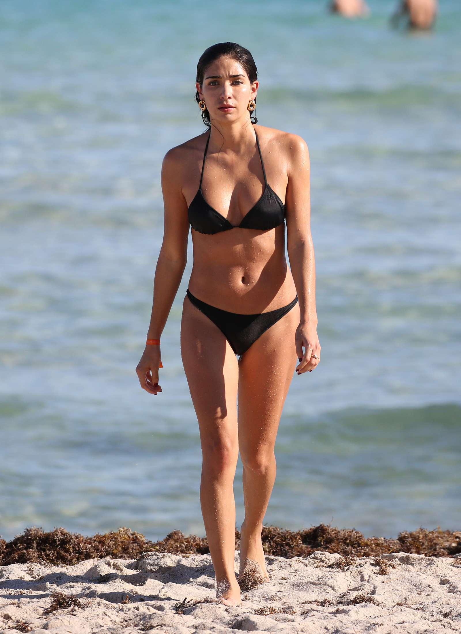 Bianca Peters in Black Bikini on the beach in Miami