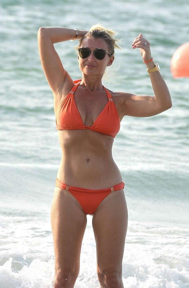 Billie Faiers in Orange Bikini on holiday in Dubai