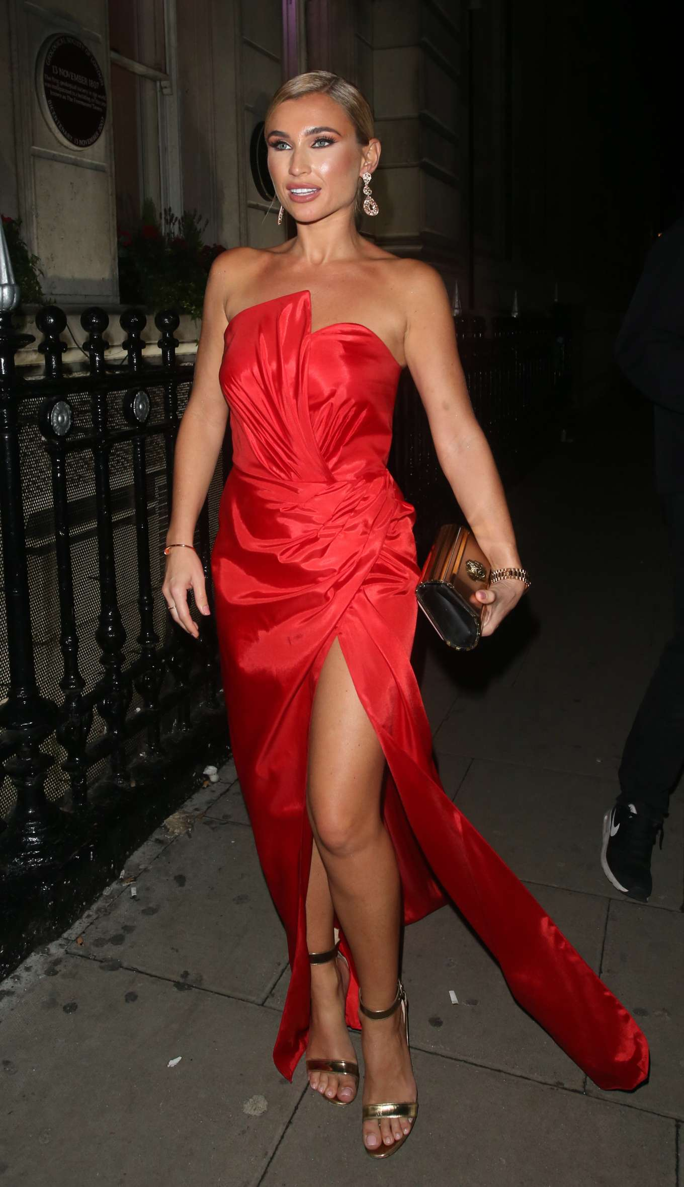 Billie Faiers in Red Dress - Arrives at The Haven House Ball in London