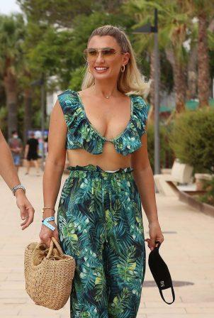 Billie Faiers on the O Beach in Ibiza