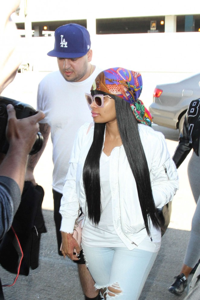 Blac Chyna and Rob Kardashian - Arrives at LAX Airport in LA