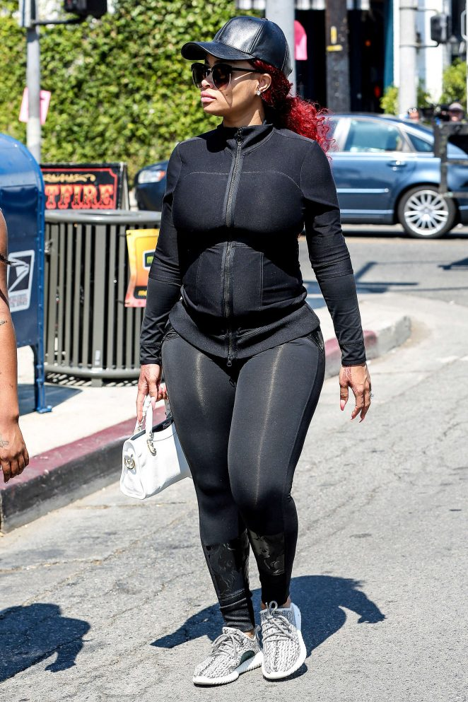 Blac Chyna in Black Tights out in Los Angeles