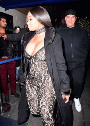 Blac Chyna in Tight Jumpsuit Night Out in New York