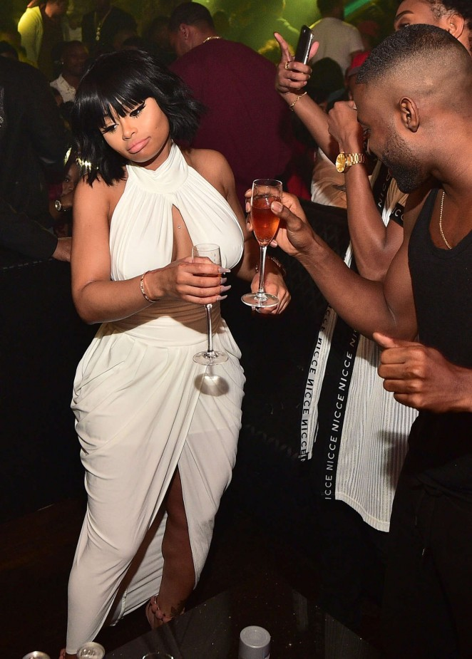 Blac Chyna in White Dress out in Atlanta