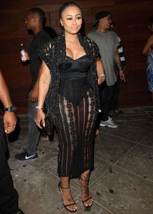Blac Chyna in Black Dress Leaving 1Oak Nightclub in LA