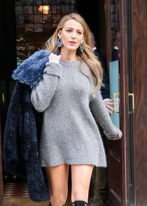Blake Lively in a cute grey outfit out in New York
