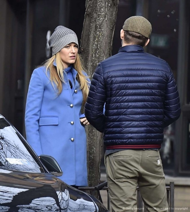 Blake Lively in Blue Coat Out in New York