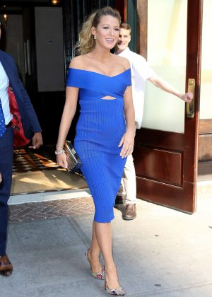Blake Lively in Blue Dress out in New York City  Blake Lively