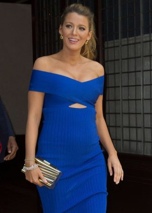 Blake Lively in Blue Dress out in New York City