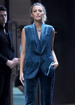 Blake Lively in Blue Velvet - Leaves Spring Studios in NYC