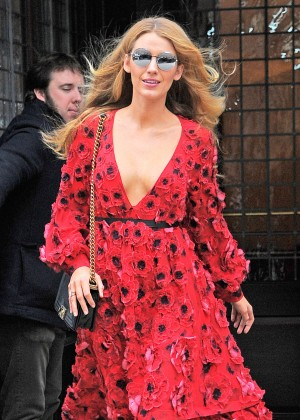 Blake Lively in Red Dress Shopping in New York City