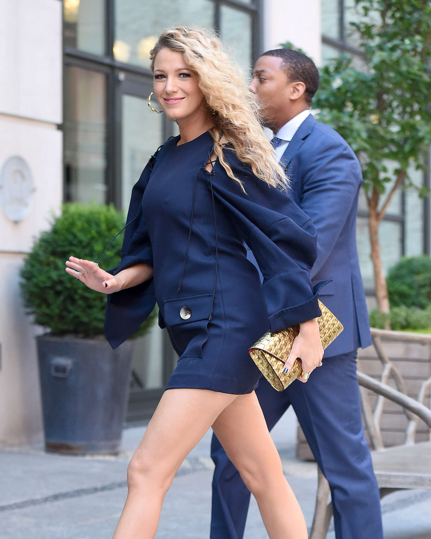 Blake Lively in Short Blue Dress Out in New York City