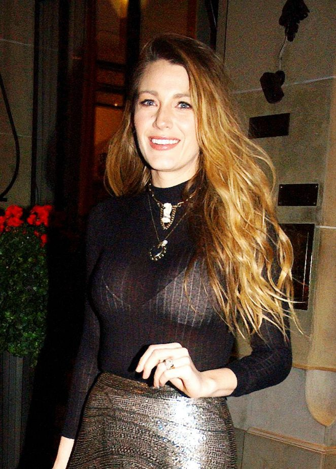 Blake Lively - Leaves Plaza Athenee hotel in Paris