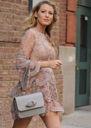 Blake Lively in Short Dress Leaving her Hotel in New York