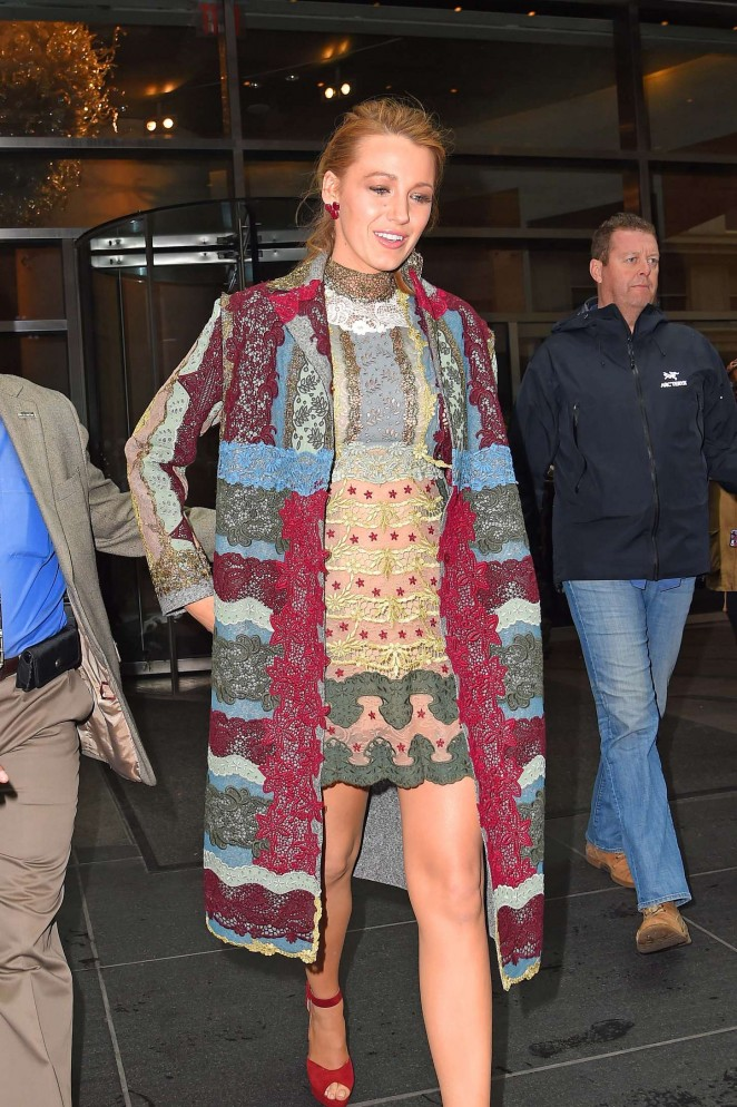 Blake Lively in Mini Dress Leaving her hotel in NYC