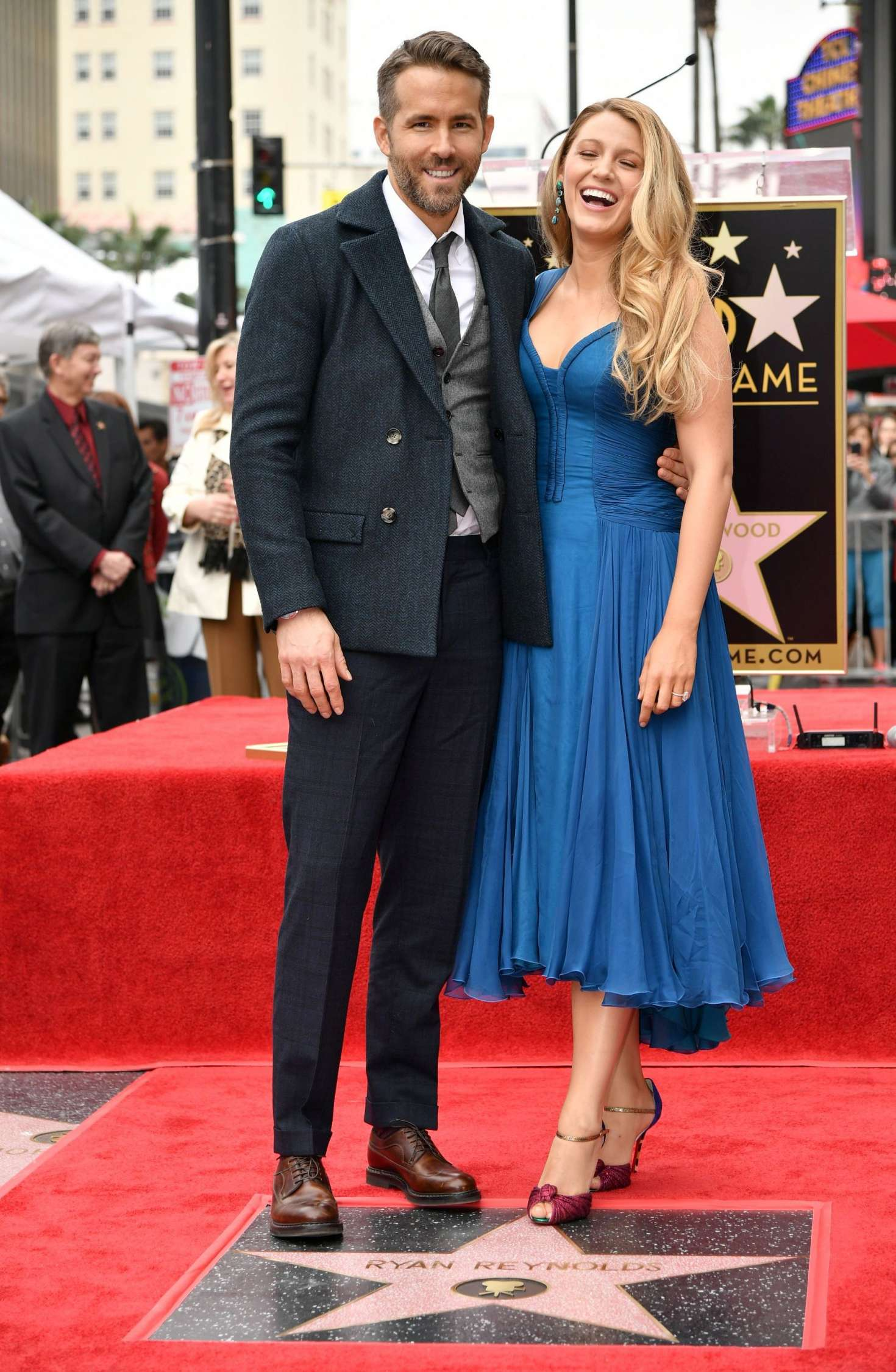 blake lively ryan reynolds honored with star on the hollywood walk