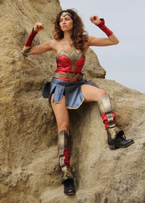 Blanca Blanco as a Wonder Woman on the beach in Malibu