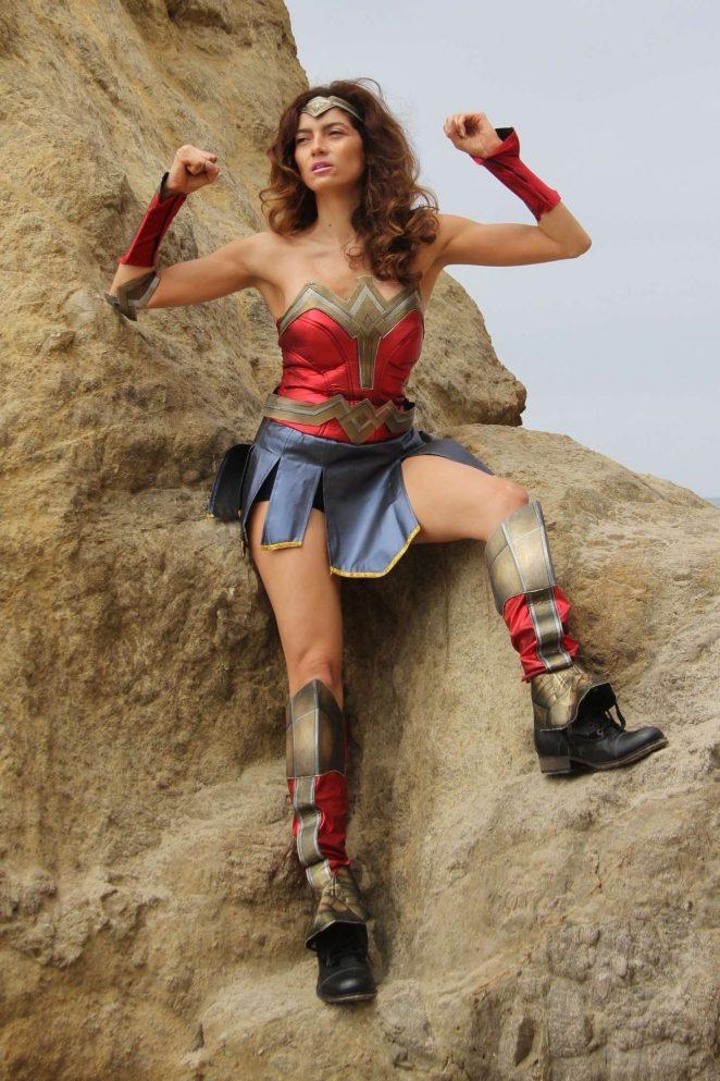 Blanca Blanco as a Wonder Woman on the beach in Malibu