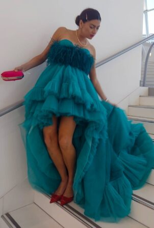 Blanca Blanco - Dons a green gown during a photoshoot in Cannes