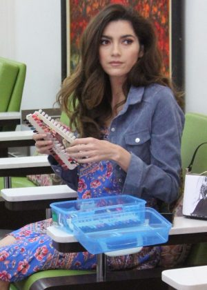 Blanca Blanco - Hits the nail salon in Los Angeles
