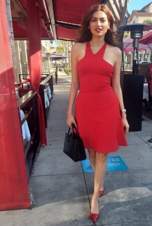 Blanca Blanco - Hits up Beverly Hills wearing a red dress