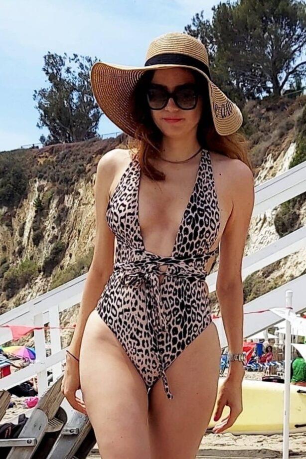 Blanca Blanco - In a animal print bikini at Paradise Cove in Malibu