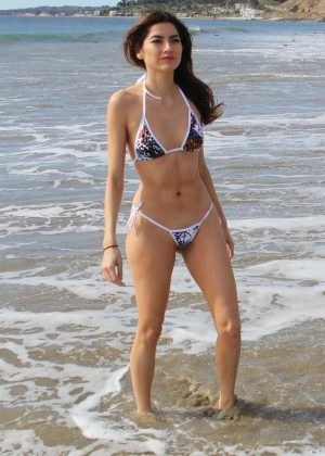 Blanca Blanco in a Teeny Bikini on the beach in Malibu
