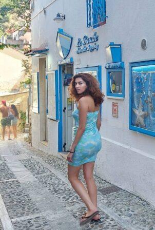 Blanca Blanco - In a tie-dye dress in Sicily