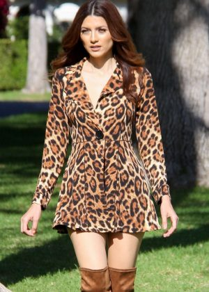 Blanca Blanco in Animal Print Dress - Photoshoot in Beverly Hills